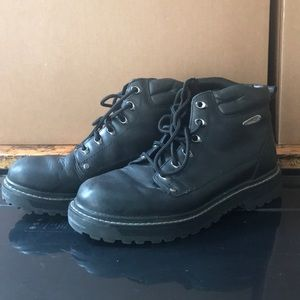 Skechers Black Leather Work Boots
